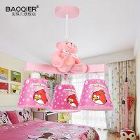 简约现代吊灯卧室温馨创意粉色卡 通愤怒的小鸟灯儿童男孩房灯饰