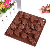 厂家直销  DIY15连毛毛虫蝴蝶 多造型硅胶巧克力模具 Baking mold