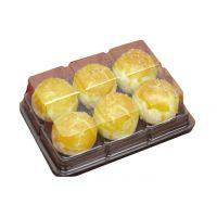 批发高品质一次性塑料小面包盒 蛋挞盒 烘焙盒子 6格饼盒2000个