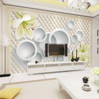 3d电视背景墙壁纸客厅沙发无纺布墙纸欧式卧室 大花 百合田园风格