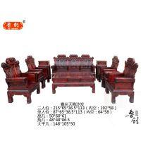 红木家具红木沙发黑檀小叶红檀仿古实木沙发锦上添花客厅组合沙发