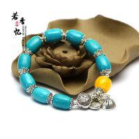 绿松石手链女民族风手链 藏银莲藕 时尚饰品