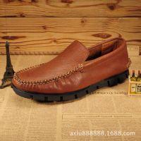 外贸新款纯手工 男士休闲鞋 真皮英伦男鞋 纯手工缝制 男士豆豆鞋