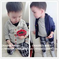 2015年新款童装 秋季针织外套 儿童针织开衫 宝宝翻领针织衫