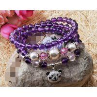 天然紫水晶  925银熊猫挂坠女款手链  首饰 招代理一件代发