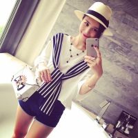 小银子2015夏装新款简约随性条纹拼接舒适中长款短袖T恤T5328