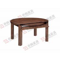 J011圆拉伸餐桌|黑胡桃实木餐桌|上海申购家具|环保实木