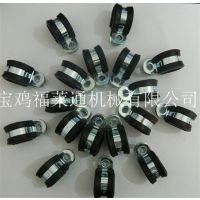 福莱通FLT-R12电线电缆固定夹 R型铁 镀锌 带胶条 线夹厂家销售