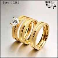 欧美时尚 情侣对戒 微镶锆石钻戒 不锈钢戒指批发 速卖通热卖款