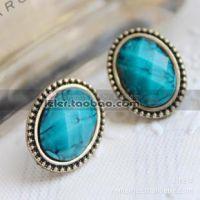 A0065   100元起混批 外贸饰品 蓝色妖姬 椭圆绿松石 耳钉 耳环