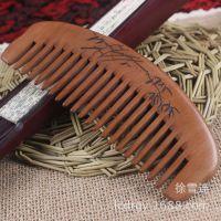 DRTM15-4厂家批发 天然桃木梳子 无柄宽齿 竹子雕刻保健工艺品梳