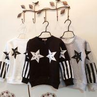 2014冬季新款 男童加绒打底衫 星星条纹印花儿童纯棉t恤童装批发