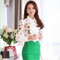 2015春装新款女装长袖雪纺衫韩版打底大码小清新花衬衫