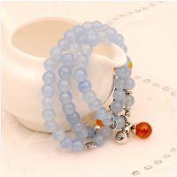 正品天然水晶玉髓海蓝宝多层手链女男款 韩版时尚葫芦转运珠饰品