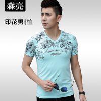 2015夏季中国风印花男士短袖t恤纯棉修身男装韩版百搭t桖打底衫