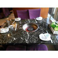 专业定制大理石火锅桌中式,火锅餐厅适用火锅台,重庆火锅桌子图片及价格