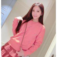 韩版春装新款百搭可爱卡通圣诞拐杖糖加绒宽松卫衣  6930