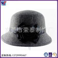 新款时尚潮女士羊毛小礼帽 冬季纯色花朵配饰保暖盆帽复古礼帽