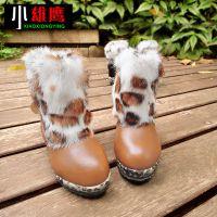 韩版韩国真牛皮真兔毛女中大童儿童保暖雪地靴棉童靴童鞋批发