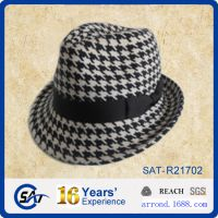工厂供应来样来图定做出口纯羊毛毡男女士春冬季千鸟格爵士礼帽子