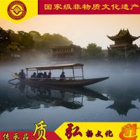 江西木船厂家出售景区电动摇橹船观光带蓬子船定制九江旅游船服务类船