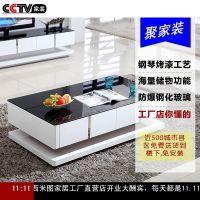 厂家直销长方形白色简约现代钢化玻璃茶几 电视柜套装小户型新思维