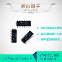 工业级串口控制语音芯片16脚mp3解码器悦欣电子YX6100-16S音乐IC