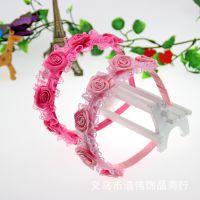 厂家批发 韩版儿童发饰 花边6朵大玫瑰发箍 塑料绕布头箍