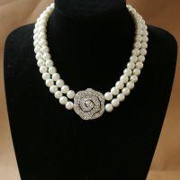 欧美高档珍珠项链 水晶吊坠玫瑰花朵项链厂价直销