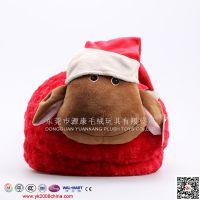 毛绒圣诞拖鞋  红色毛绒拖鞋 毛绒动物拖鞋 东莞毛绒拖鞋定做