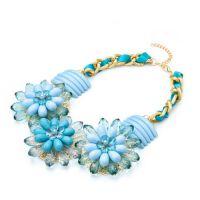 速卖通 eBay 果冻 bib 项链  蓝色  花朵  亚克力  夸张项链 宝石
