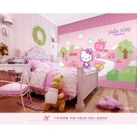 广州厂家直销大型无纺布壁画粉红色KITTY猫KTV主题背景墙儿童房墙纸凯蒂猫