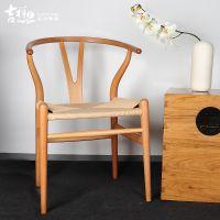 吉祥家 新中式餐椅[曲致]实木榫卯叉骨椅子 休闲座椅
