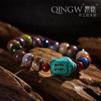 AA22 纯手工多彩珠子手链高端绿松石佛头饰品创意陶瓷