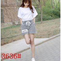 2015韩版修身显瘦时尚条纹短裤套装 气质大码T恤两件套女装