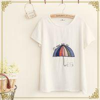 2014新款 森女系 日系 彩色小伞刺绣 薄款 棉麻短袖T恤 女装批发