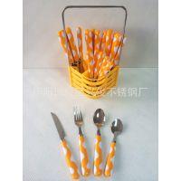 热销新款厂家供应优质彩色奶牛纹PS手柄不锈钢刀叉勺24件餐具套装