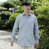 民族服饰 中国风汉麻中式立领花花笙记款男修身长袖花扣衬衫