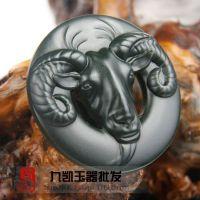 新疆和田玉墨玉羊帶扣和田玉羊長久遠生肖羊掛件黑碧玉羊皮帶扣