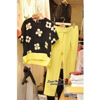 14韩国东大门甜美花朵闪钻短袖雪纺打底衫+小脚裤套装E4#8099