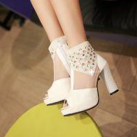 夏季鱼嘴凉鞋高跟鞋网纱透气女鞋蕾丝水钻优雅粗跟单鞋网鞋高