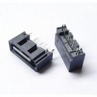 双柱SATA 7P公座A型端子180度插板,DIP直插,鱼叉脚SATA连接器