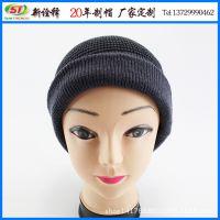 外贸出口冬帽女士毛线帽 卷边套头毛线帽 条纹混纺保暖针织帽子