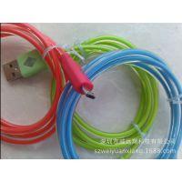 V8 LED透明发光线 圆管发光线, MICRO USB TO USB闪光数据线