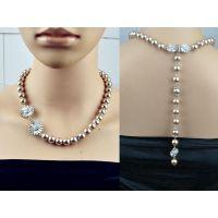 欧美大牌JCR太阳花锆石 珍珠项链 背链 高档插扣联接
