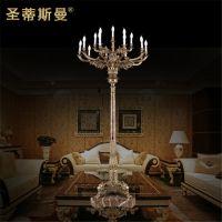 罗马风格全铜灯柱 会所大厅装饰灯 高档别墅庭院景观纯铜落地灯
