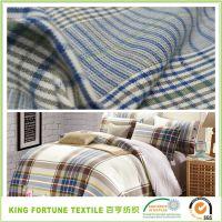 厂家现货直销 纯棉色织格子面料 梭织全棉 服装衬衫、床单面料
