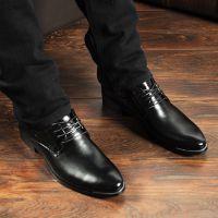 韩版 英伦正品男士商务正装真皮休闲皮鞋内增高尖头系带鞋