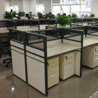 办公家具职员办公桌4人办公桌椅 组合屏风工作位现代简约黑色铝材
