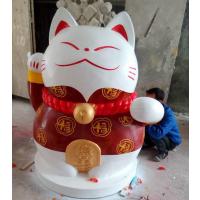 定制玻璃钢招财猫雕塑 吉祥物工艺品 广东原著厂家制作
